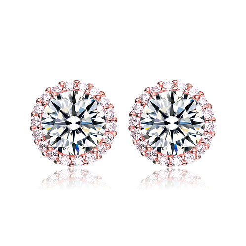3.5ctw Rose Toned Halo Style Stud Earrings TCE-BEAR3046-ROSE