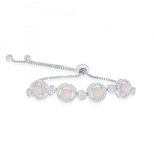 Sterling Silver White Opal Bolo Bracelet CSB-T-7559