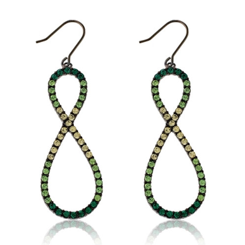 Sterling Silver Multi-tone Green Crystals Open Figure 8 Earrings CSE-D-4375