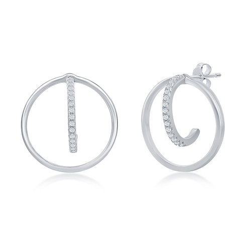 Sterling Silver 3D Round Open Earrings CL-D-7000