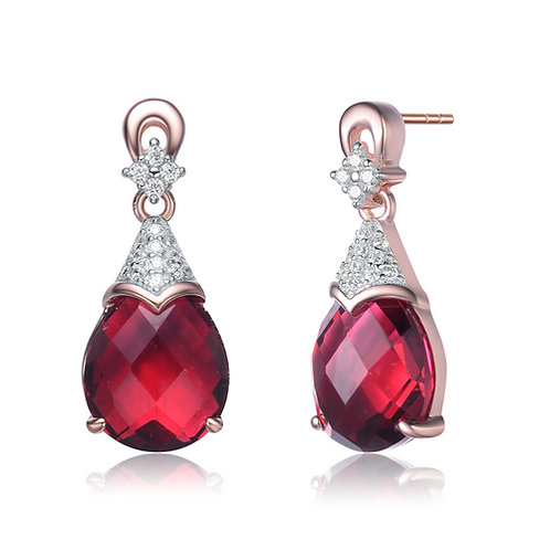 Rose Gold Plated Sterling Silver Pink Sapphire Style TCS-EAR0319-R-ROSE