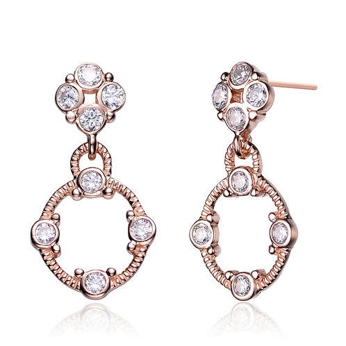 Rose Toned Cable style Drop Earrings CSE-EAR6108-ROSE