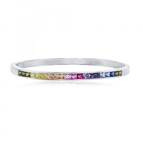 Sterling Silver Rainbow Channel Set Bangle CB-U-6650