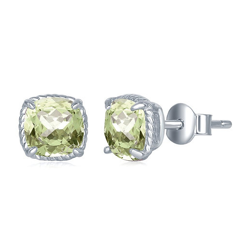 Sterling Silver 6MM Square Cushion-Cut Green Amethyst Earrings CL-D-6583