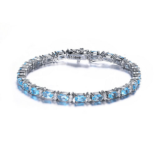 Sterling Silver Aquamarine Style Tennis Bracelet TCB-BR2026-S-BT-RP
