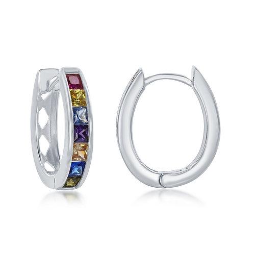 Sterling Silver Channel-Set Rainbow Oval Hoops CL-D-7089