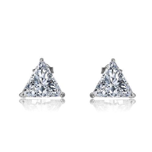 1.00ctw Sterling Silver Trillion Shaped Stud Earrings TCSE-EAR306-M