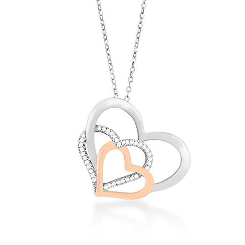 Sterling Silver and Rose-Plated Open Hearts Pendant CSN-K-6516