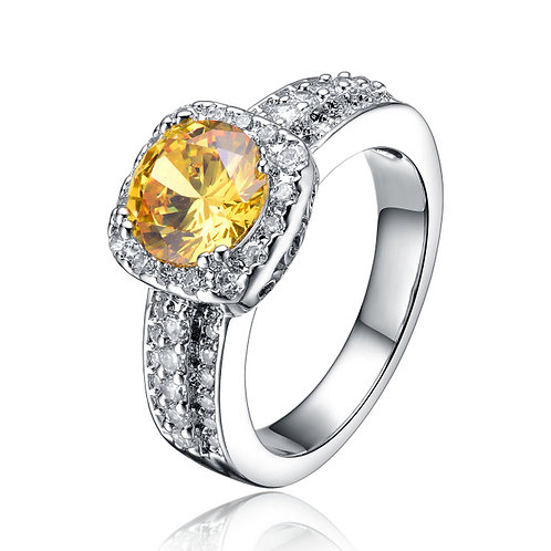 Sterling Silver White and Yellow Cubic Zirconia Ring R2151-YC