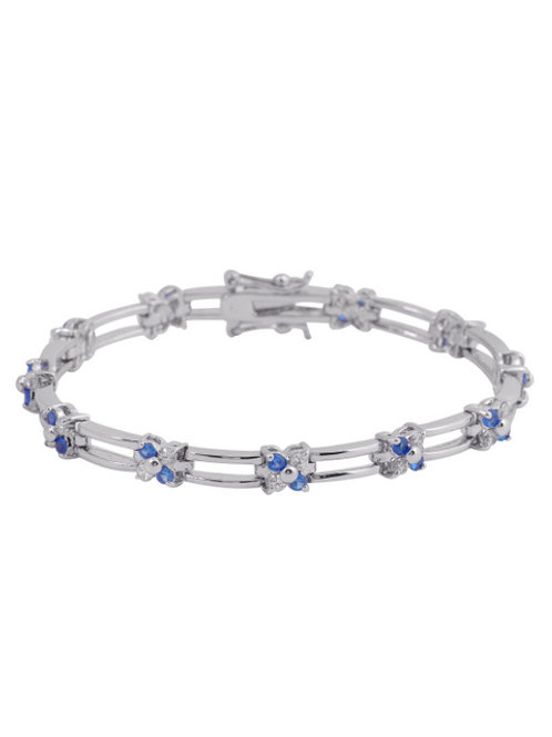 Sterling Silver Sapphire/White Stone Bracelet TCB-BR773S