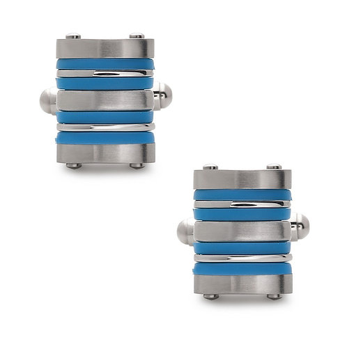 Stainless Steel Blue Rubber Striped Cuff Links CL-SC-2002