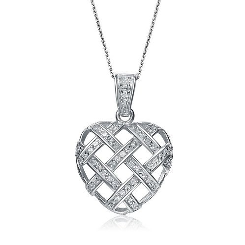 Sterling Silver Pave Braided Style Heart Pendant TCSN-PEN289