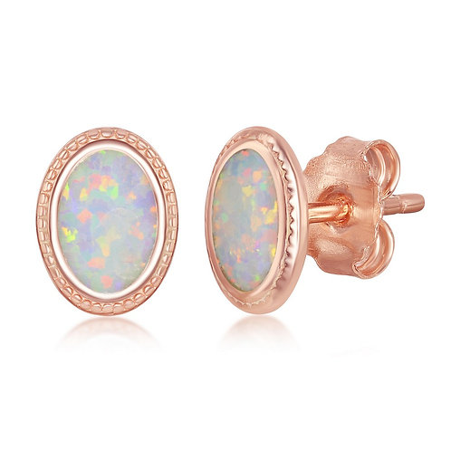Sterling Silver Rose Gold Plated Oval White Inlay Opal Earrings CL-D-7174-RG