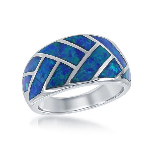 STERLING SILVER BLUE INLAY OPAL RING W-1415