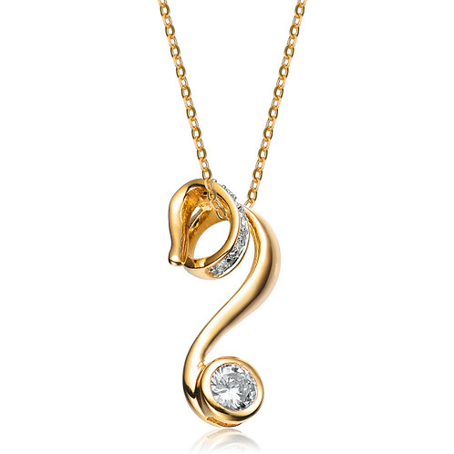 Sterling Silver Gold Plated Wave Deco Pendant CSN-PEN125-GP
