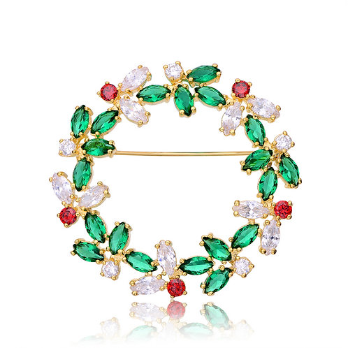 Gold Plated Emerald & Ruby Style Pin P-PEN0007