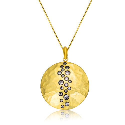Sterling Silver Gold Overlay Circles Necklace CSN-PEN9244