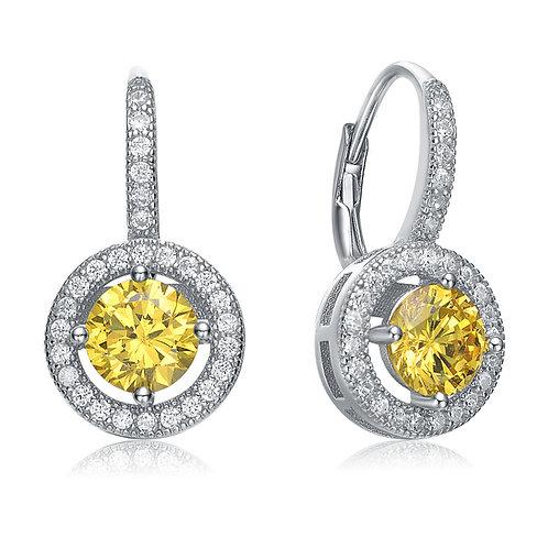 Sterling Silver Yellow Stone Halo Style Earrings TCE-EAR9106-Y
