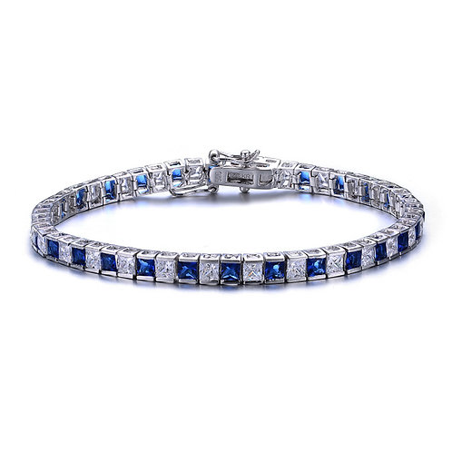 Sterling Silver Sapphire/White Style Tennis Bracelet TCB-BR1905-S