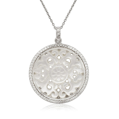 Sterling Silver Round Cut Out MOP Pendant CSN-K-6978