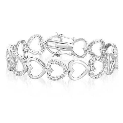 Open Style Heart Pave/High Polish Tennis Bracelet TCSB-BR1248-1