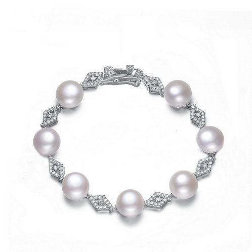 Sterling Silver Cubic Zirconia and Pearl Bracelet BR5622