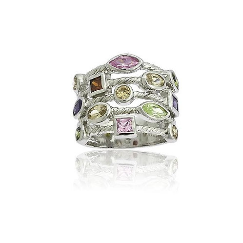 Multi Pastel Stone Ring W-8804
