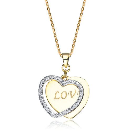 """Sterling Silver Two Tone """"LOVE"""" Heart Pendant TCN-PEN0016"""