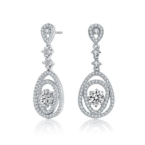 Sterling Silver with Rhodium Plated Fancy Pave` Drop Earrings TE-EAR0451