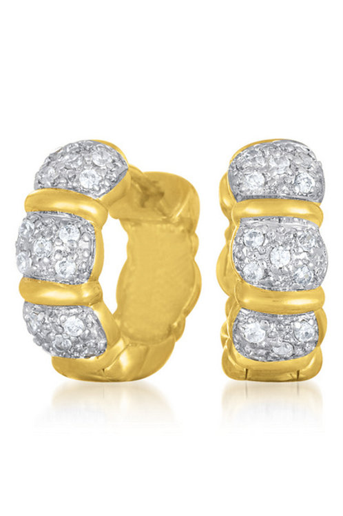 Gold Overlay Tension Style Three Stone Huggie Earrings CE-EAR165-gp