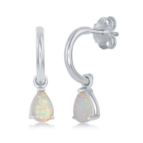 Sterling Silver Pear-Shaped White Inlay Opal Open Hoop Earrings CL-D-7175