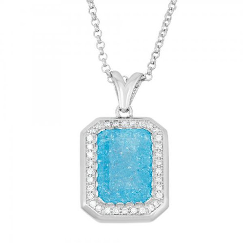 Sterling Silver Rhodium Plated Rectangle Blue Ice Pendant TCN-K-7204