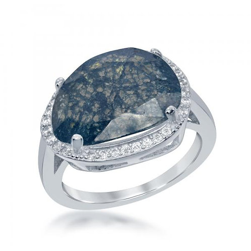 Sterling Silver Rhodium Plated Oval Blue Ice Halo Style Ring CSR-W-1773