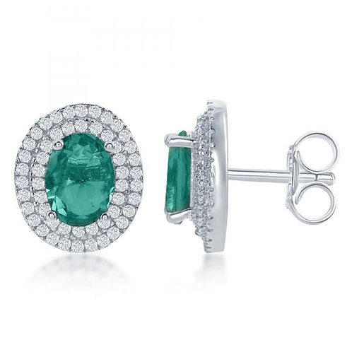 Sterling Silver Oval Simulated Emerald with Earrings TCE-D-6308