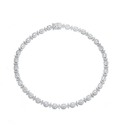 Sterling Silver Cubic Zirconia Circle Solitaire Necklace nec1951