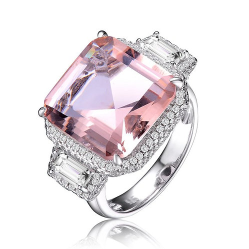 Sterling Silver Morganite Ascher Cut 3 Stone Style Ring TR-R9786-M