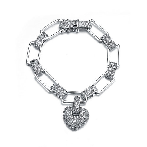Sterling Silver Puffed Heart With Pave Links Bracelet TCSB-BR1681