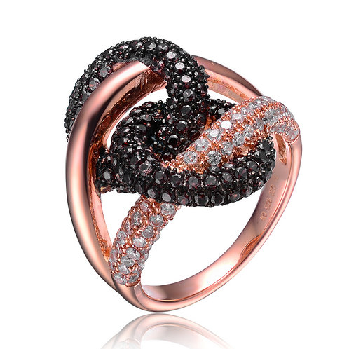 Rose Gold Overlay Black and Clear Stone Twist Ring CSR-R4009