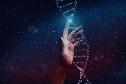 Close up of human Touching DNA molecule.
