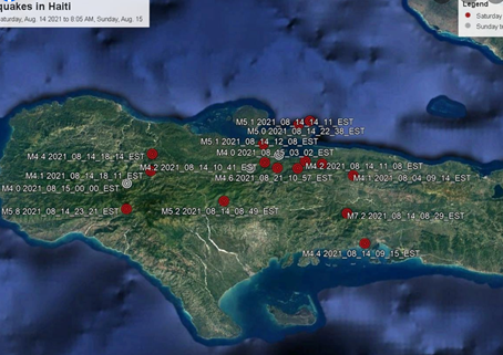 Earthquake Update: As of August 16, 2021