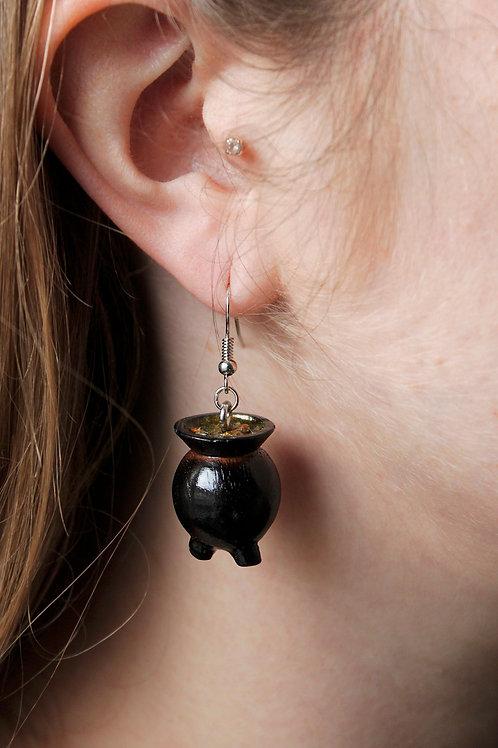 Wooden Cauldron Earrings