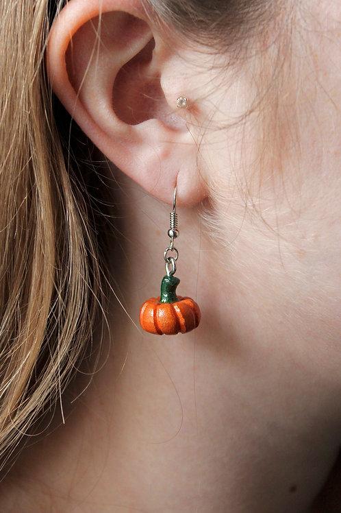 Wooden Pumpkin Earrings
