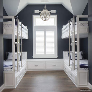 The ultimate bunk room for your coastal home! Perfect for the kids! The navy blue and white contrast is perfect for this space!
