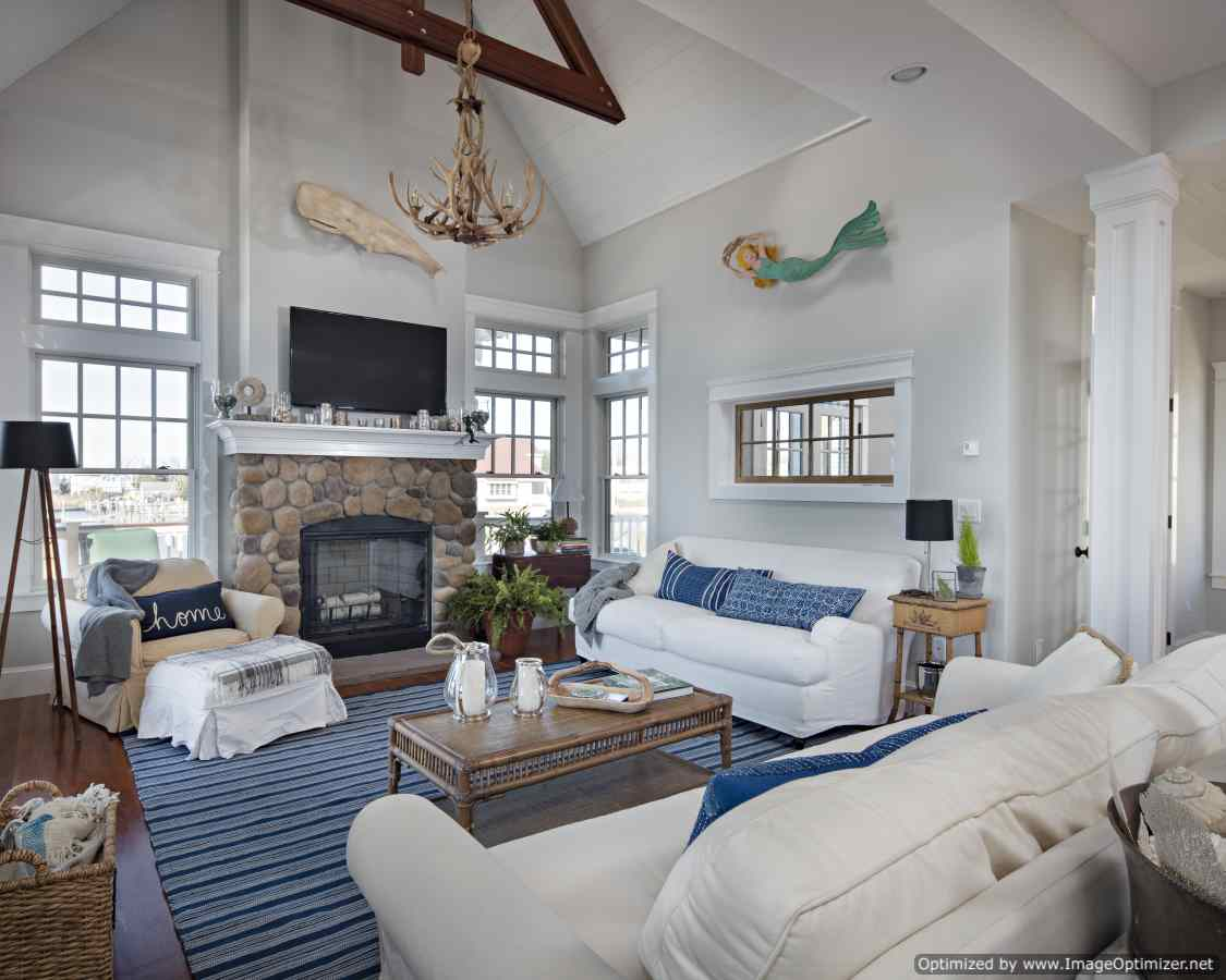 stone fireplace beach home