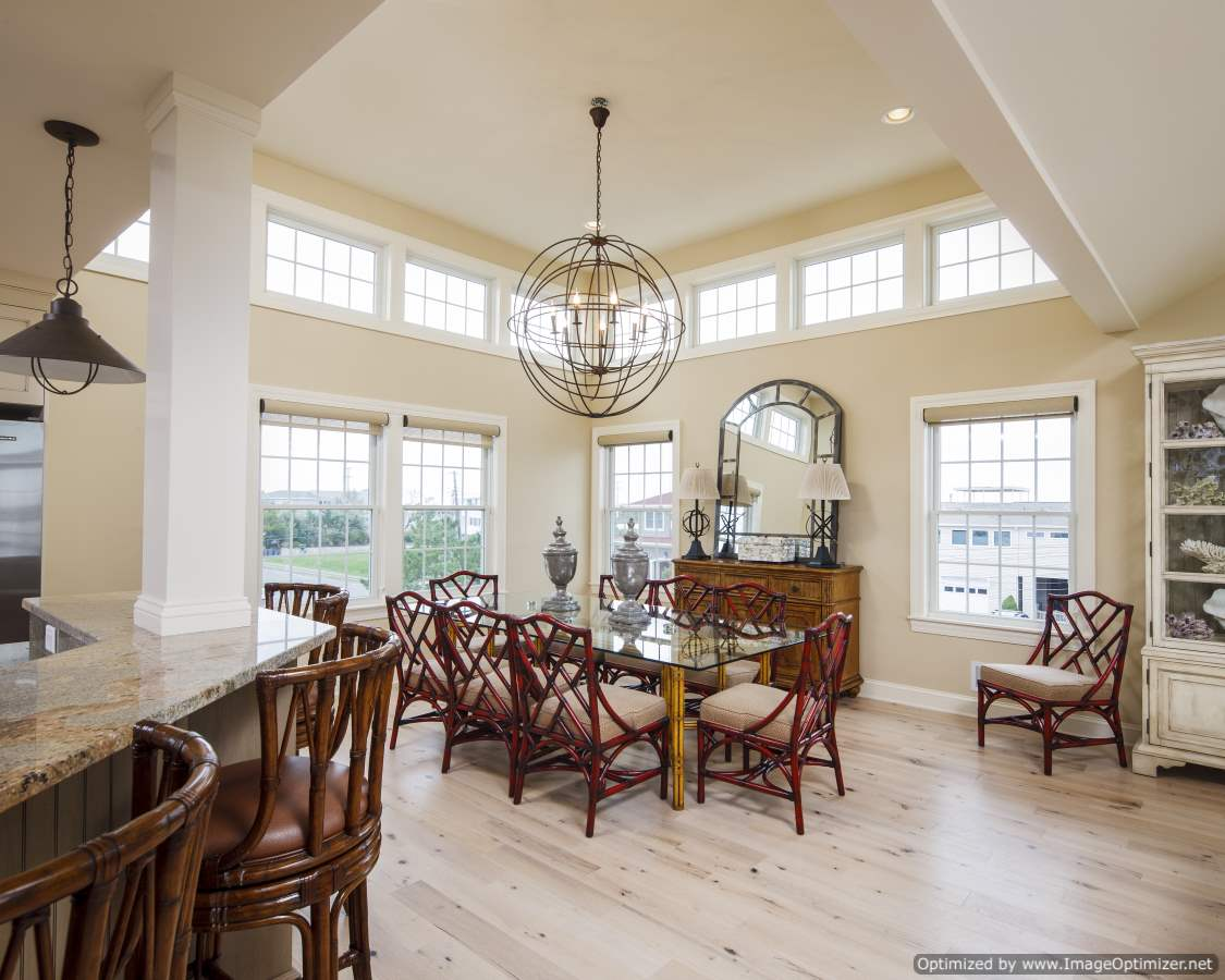 beach home dining room natural light