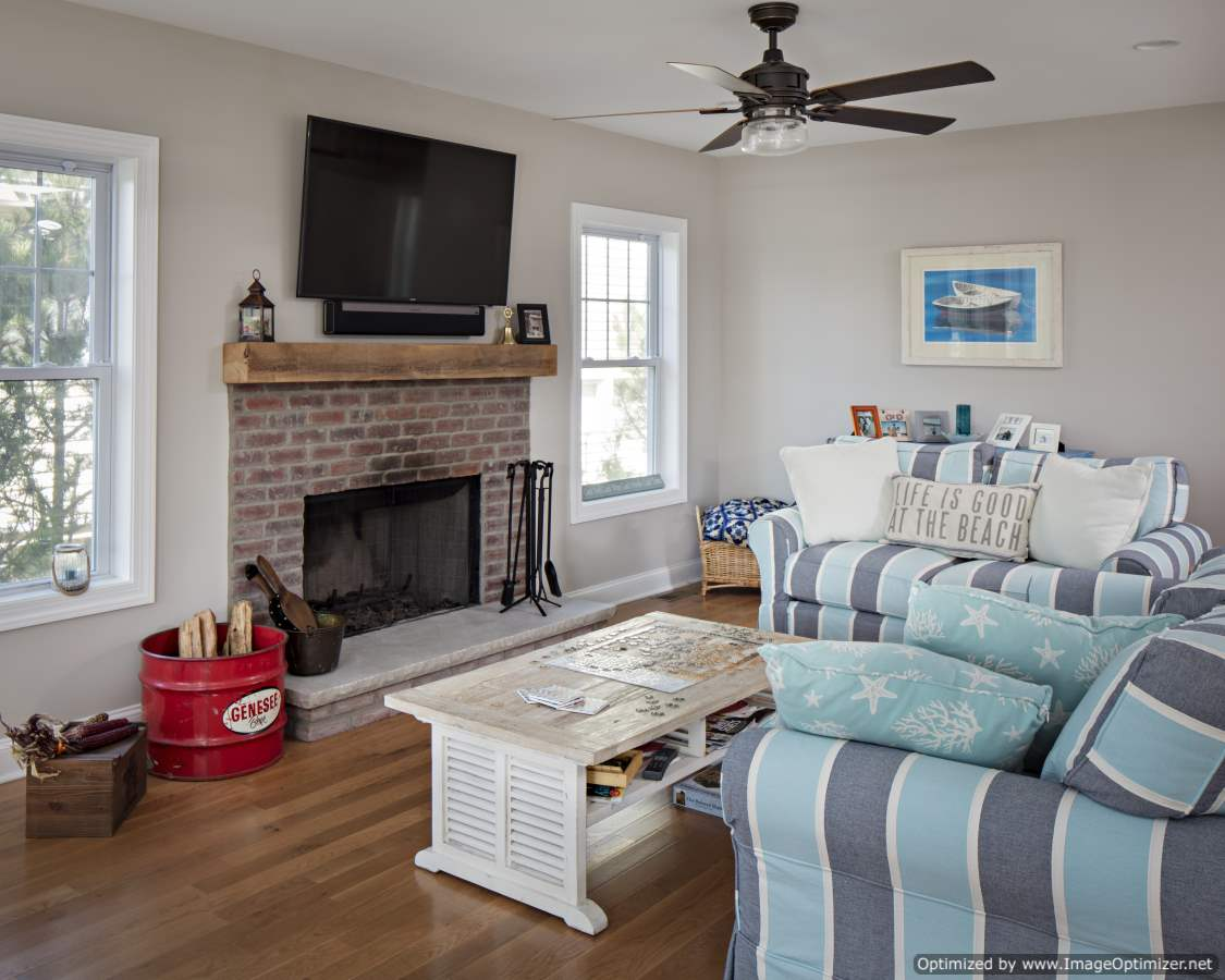 brick fireplace beach home