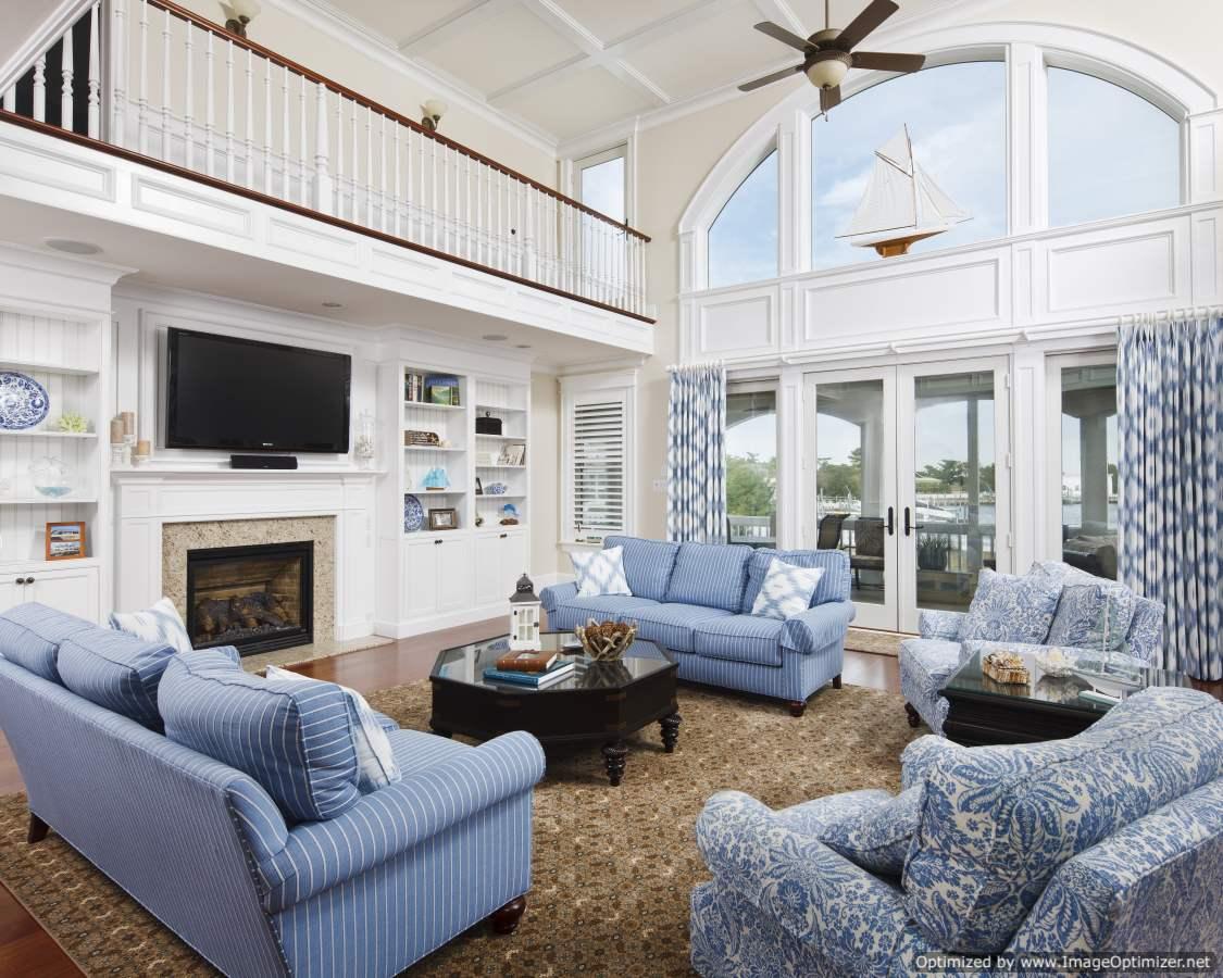open concept beach home interior