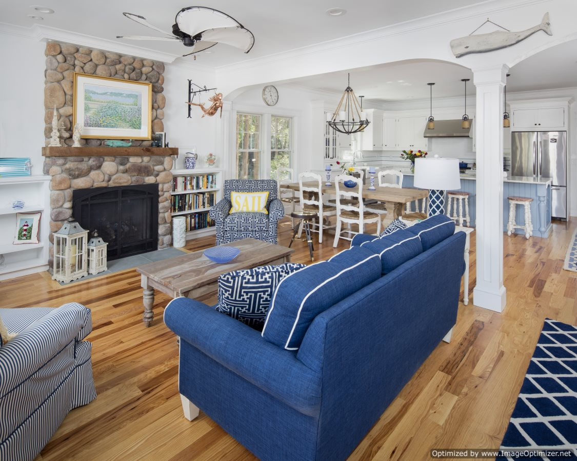 open concept beach home great room