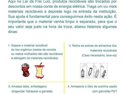 Lar de Frei Luiz e Light Recicla - Economia e sustentabilidade