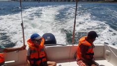En route vers la zone de pêche